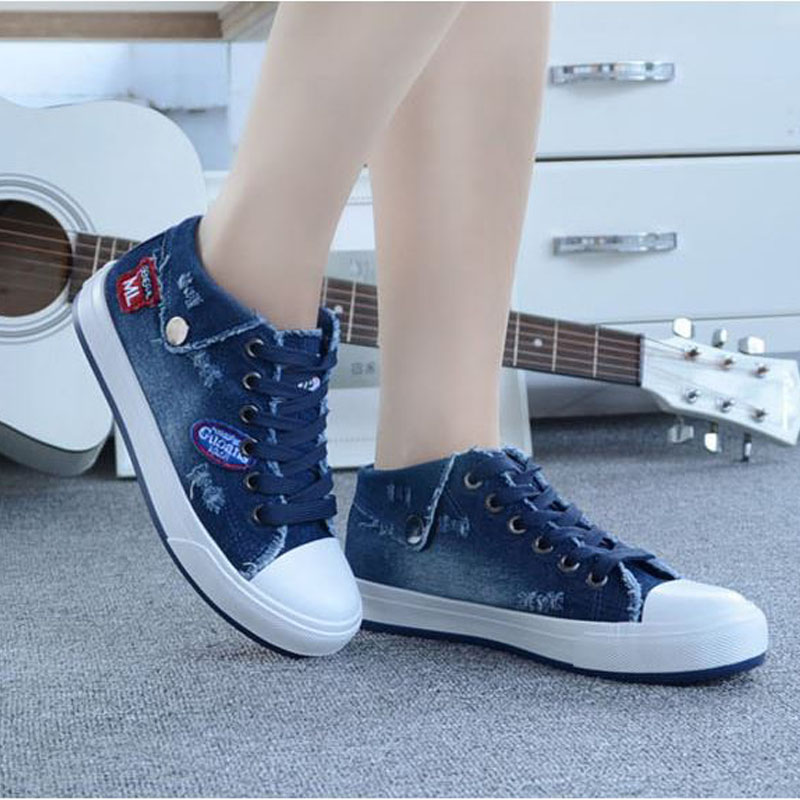 2017 Sping Autumn Women Denim Casual Shoes Lace-Up Women's Fashion Flats High Top Canvas Shoes Woman Flat Shoes
