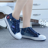 2017 Sping Autumn Women Denim Casual Shoes Lace Up Women S Fashion Flats High Top Canvas