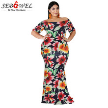 SEBOWEL Mermaid Plus Size Maxi Long Dresses for Woman Summer Female California Poppy Print Floral Off Shoulder Big Dress