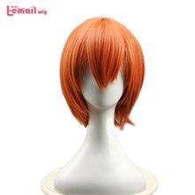 L e mail peruca nova chegada amor viver rin hoshizora cosplay perucas curto laranja resistente ao calor peruca de cabelo sintético perucas cosplay