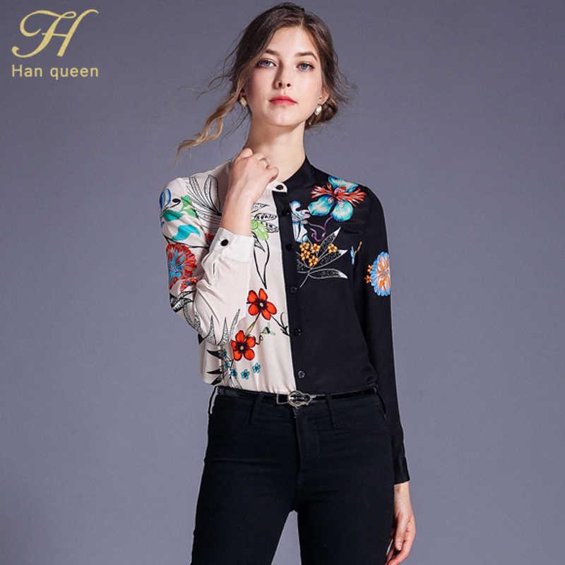 H Han Queen Patchwork Dicetak Warna Kontras Kemeja Wanita 2019 Musim Panas Penuh Lengan Blus Vintage Berdiri Kerah Pakaian Kerja Vestido