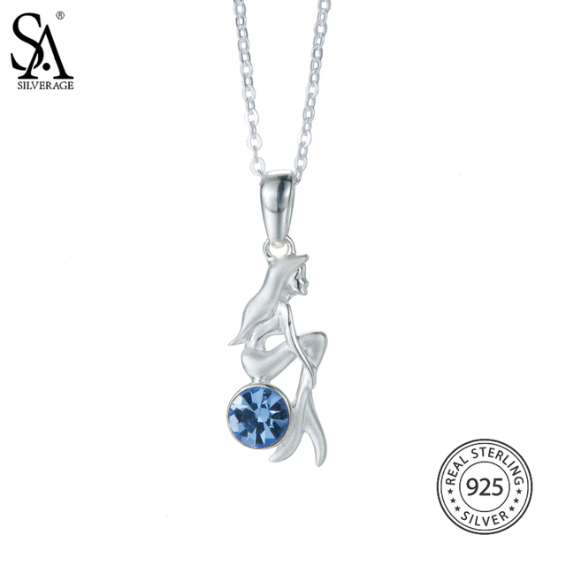 Us domestic sale 925 sterling silver mermaid necklaces pendants us domestic sale 925 sterling silver mermaid necklaces pendants for women blue color rhinestones pendant mozeypictures Gallery