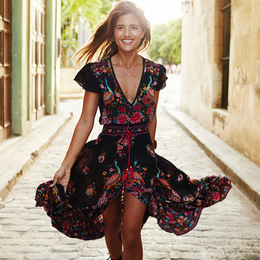 2017 Summer Boho hippie Dress Ethnic Sexy Print Cotton Retro Vintage Dress Tassel Beach Dress Bohemian Hippie Dress Robe Vestido