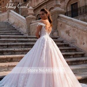 Image 4 - Ashley Carol Chữ A Áo Cưới 2020 Đầm Ren Công Chúa Lệch Vai Pha Lê Appliques Người Yêu Cô Dâu Đồ Bầu Đầm Vestido De Noiva