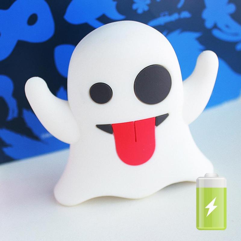 1pc mobile phone Power Bank 2600mAh External Battery Charger Lovely New Portable Mobile Power Mini Cartoon Ghost Emoji H4