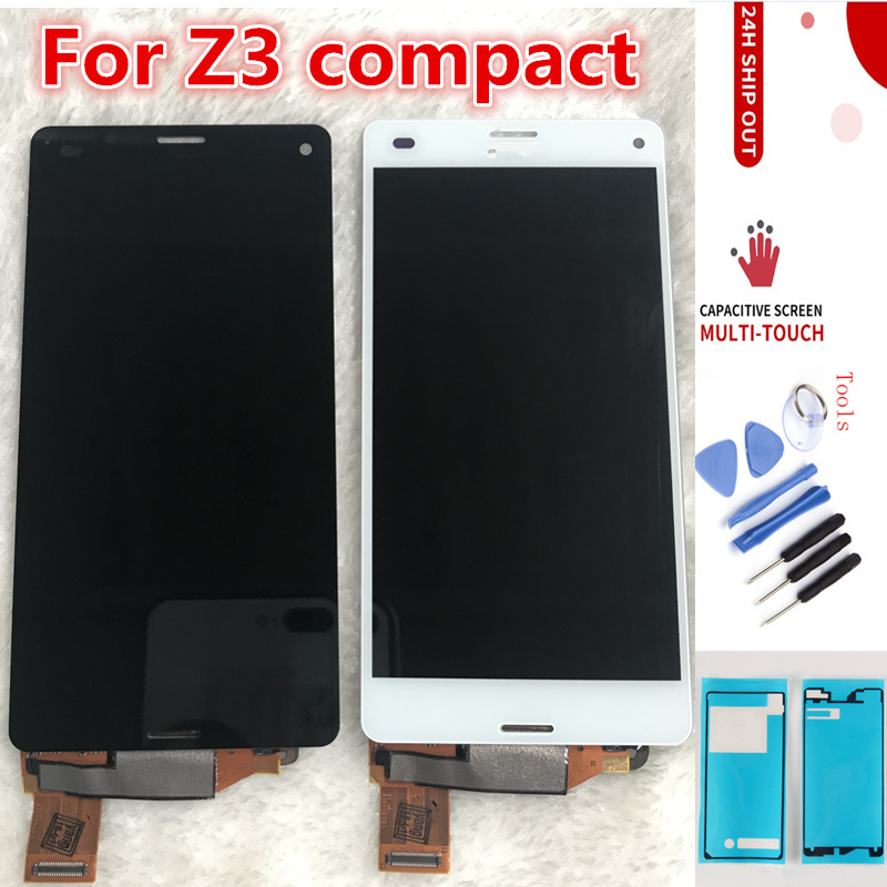 Black White LCD For SONY Xperia Z3 Compact Touch Screen LCD with Frame Z3Mini D5803 D5833 Z3C For SONY Z3 Compact Display