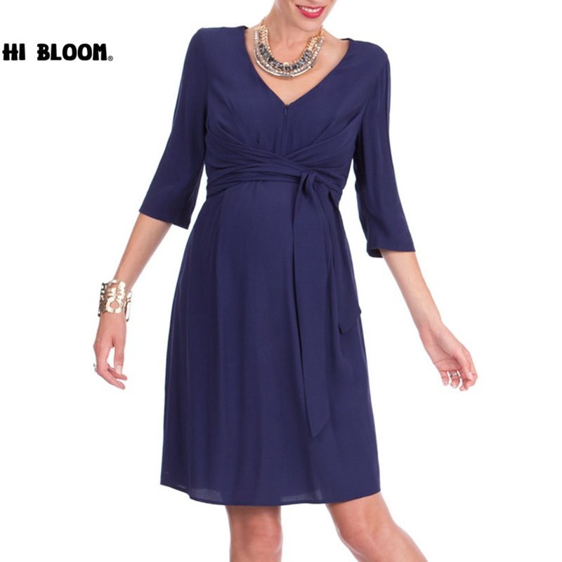 Happy Mother V-Neck Blue Dresses for Maternity Women Evening Party Pregnant Dress Pregnancy Clothing Vestidos Size S-3XL