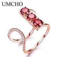UMCHO Real Natuurlijke Rode Granaat Solid 925 Sterling Zilveren Ringen Rose Gold Sliver Kleur Ring Charmant Engagement Fijne Sieraden