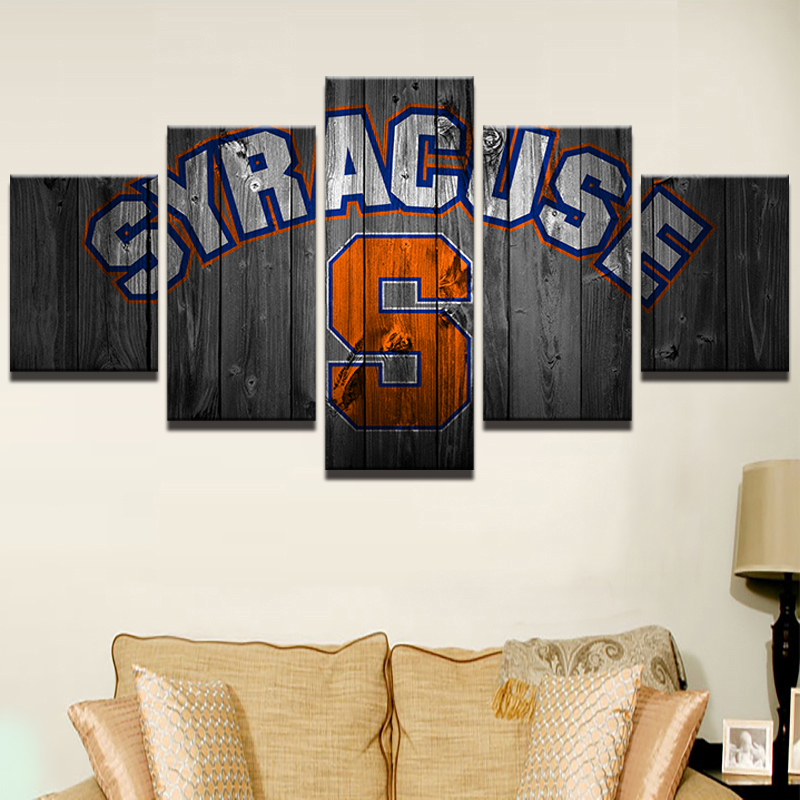 Canvas Art Painting Style Modular Pictures Home Decor 5 Panel Wall Art Basketball Sports Syracuse Photo HD Printed Poster PENGDA