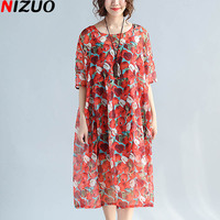 New Summer Plus Size Women Fashion Chiffon Dress Red Apple Print Female Loose Tops Big Size