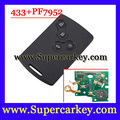 Free Shipping  1pcs  Excellent Quality  4 Button Smart Card For Renault  Koleos CLIO with pcf7952 Chip  433MHZ