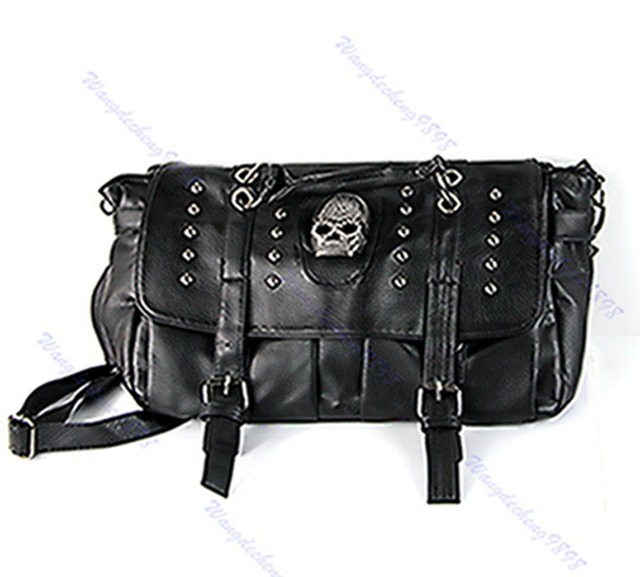 4a4c4da8d150 Punk Skull Rivet Shoulder Handbag Pu Leather Hobo Bag School Satchel Women  Lady Black Soft Bag New Fasion Hot Sale