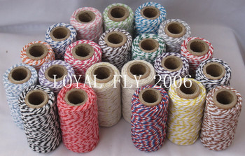 33pcs/lot 33 kind color becautiful double color 100% cotton bakers twine 20m/spool