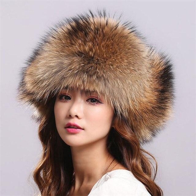fd69666bc US $42.95 50% OFF|Aliexpress.com : Buy Hot Sale Fur Hat Women Natural  Raccoon Fox Fur Russian Ushanka Hats Winter Thick Warm Ears Fashion Bomber  Cap ...