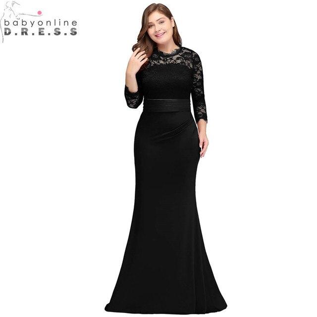 Vestido de Festa Plus Size Lace Sereia Vestido de Noite com Faixas Luva Dos Três Quartos Vestidos de Noite Robe de Soirée Longue