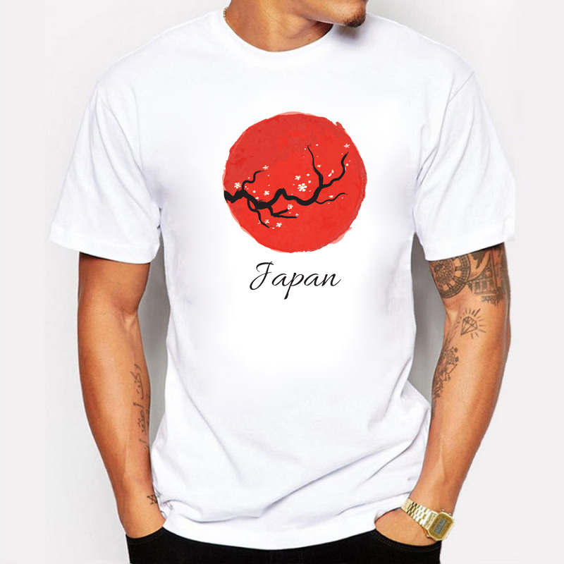Japanese Cherry Blossoms Red Day Design Men's T-shirt Cotton Short Tee Shirt Cosplay Christmas Halloween Costumes Anime Clothing