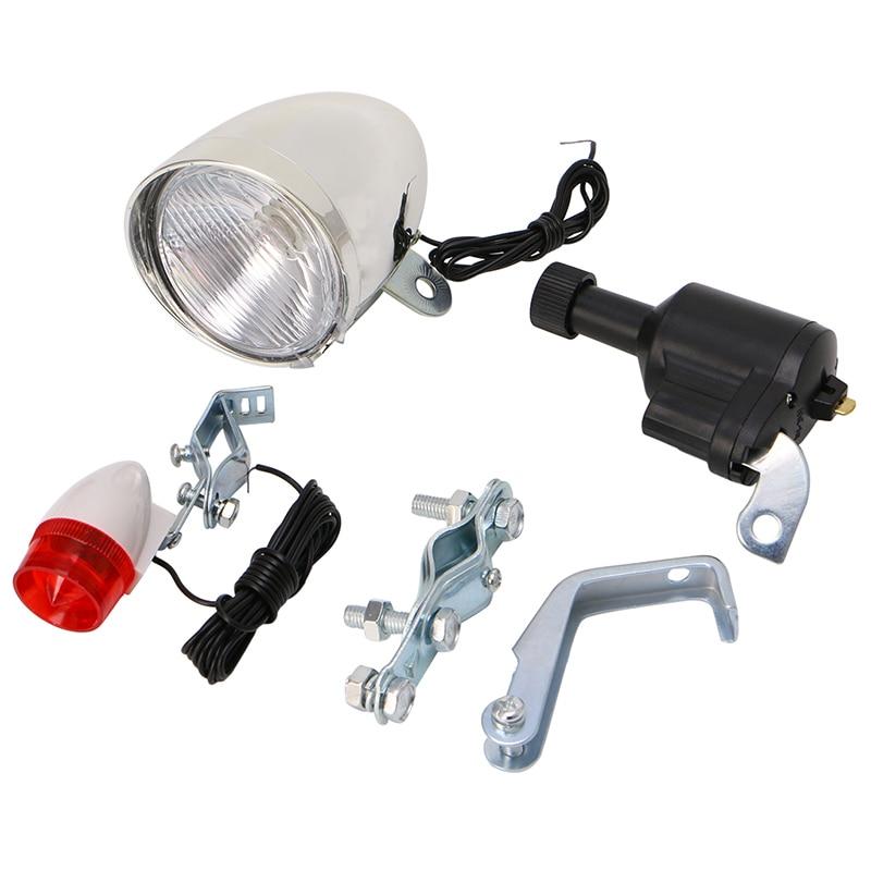 (QILEJVS) vélo motorisé vélo Friction Dynamo générateur tête feu arrière accessoires APR14_17