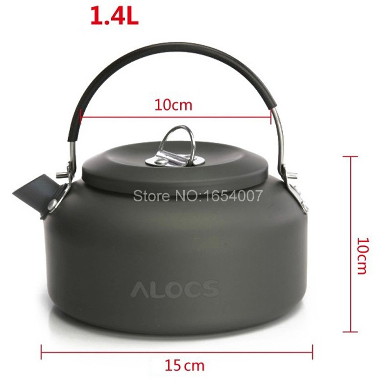 Alocs CW-K03 1.4L Outdoor Kettle Cooking Pot Camping Cooking Pots Sets Camping Food Cooker Water Teapot Coffee Pot Aluminum image
