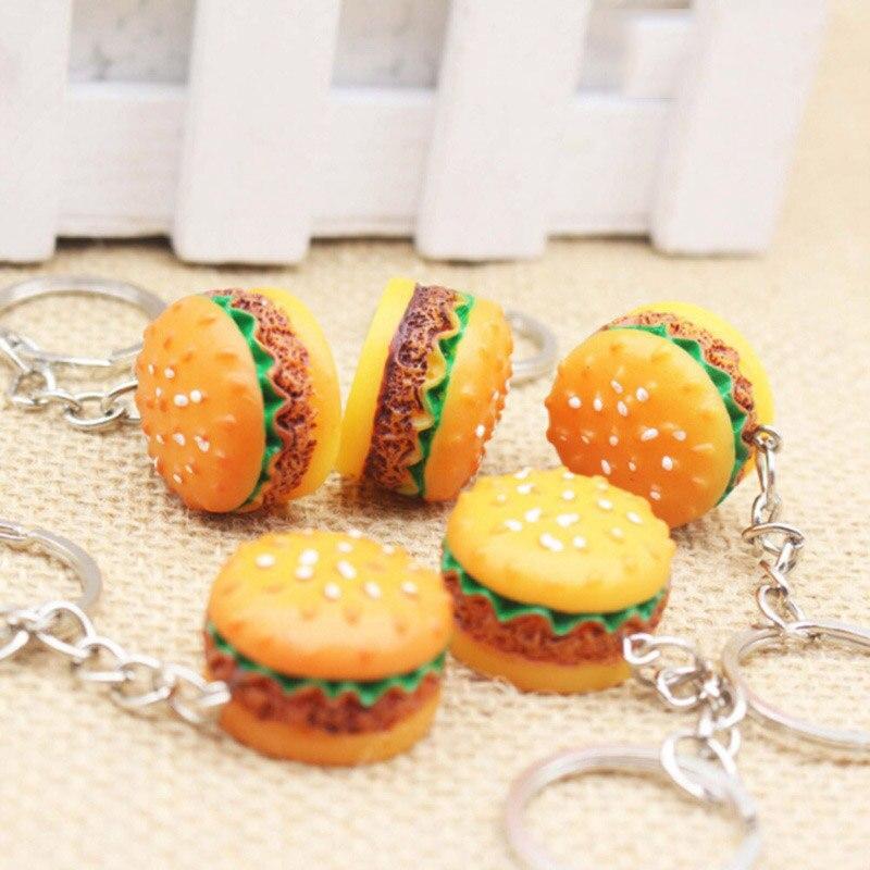 Cute Hamburger Keychain Simulation Food Hamburger Pendant Key Ring Novelty Key Chain Christmas Birthday Gift