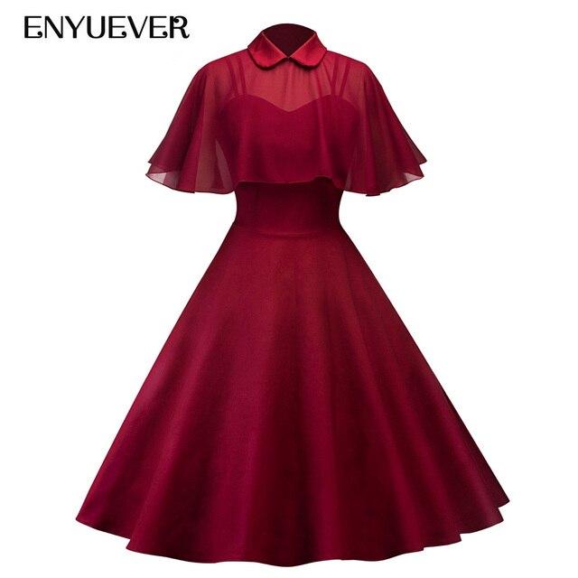 Enyuever Elegant Vintage Dress Autumn Party Cape Robe Pin Up Retro Peter  Pan Collar Vestidos 50s d13bdc51f50a