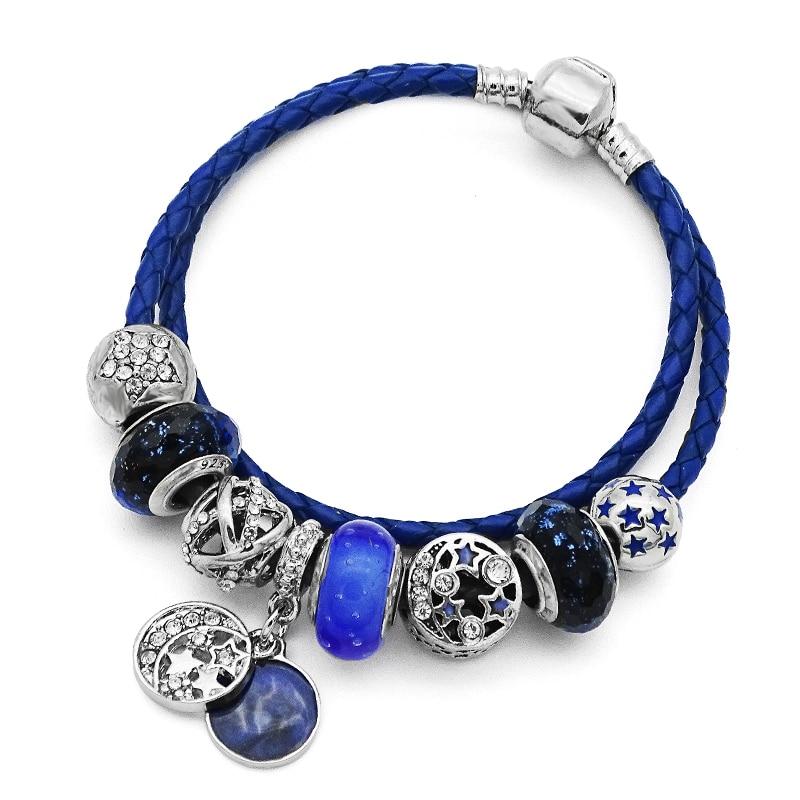 New Arrival Original European Bracelets Moon Star Charms Beads Fits Pandora bracelets & Bangles Friendship Diy Jewelry