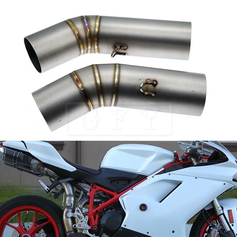 Motorcycle Exhaust Muffler Middle Link Pipe For Ducati 1098 1098S 2007 2008 1198 1198S 2009-2011 848 2008 to 2010 1098R Slip-on 1set motorcycle rearset foot pegs footrest rear set for ducati 848 1098 1098s 1098r 1198 titanium wholesale d10
