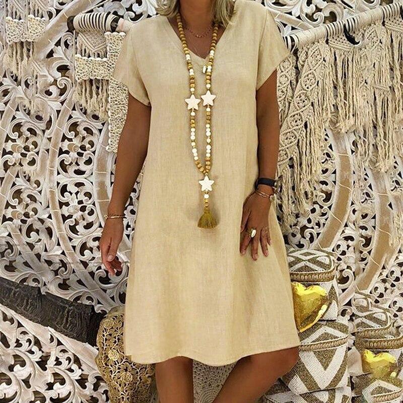 2019 Plus Size 5XL Vestidos Das Senhoras New Casual V-Neck Vestido de Linho de Algodão Para As Mulheres Verão Feminino Vestidos Vintage Vestidos Sólidos