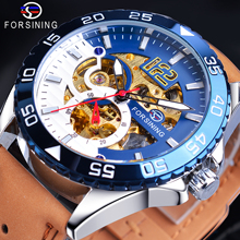 Forsining Luxury Automatic Men's Watch Creative Design Half Blue White Skeleton 3D Analog Genuine Leather Band Mechanical Clock цены онлайн