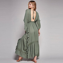 6d3e923b0867 BOHO PEOPLE Plunging Neckline Lace Patchwork Empire High Waist Backless  Dresses 2017 Bohemia Flowing Loose Holiday
