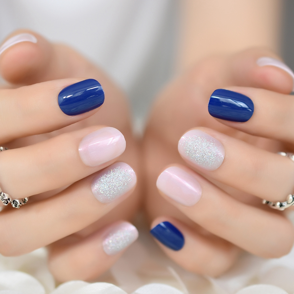 Royal Blue Jelly Pink False Nails Soft Pink Short Press On ...