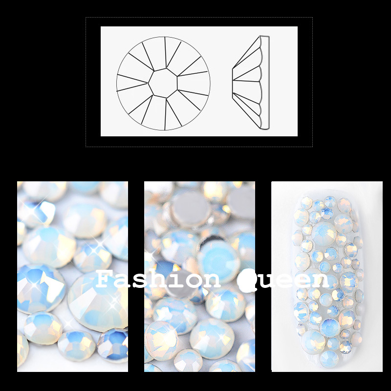 1 paket mešanica beli opal kristalni nohti art nosorogi 3d šarm - Poslikava nohtov - Fotografija 2