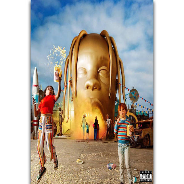 7110bbf1d43d S2630 Album Cover Astroworld Travis Scott Rap Music Rapper Star Wall Art  Painting Print On Silk Canvas Poster Home Decoration