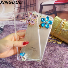 XINGDUO Crystal Fashion Bling flower Case Cover Clear Soft Phone Shell Protection for iphone X XS XR MAX iphone6 7 8 plus
