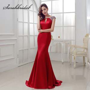 Image 1 - Elegant Burgundy Mermaid Evening Dresses 2020 Long Satin with Crystal Beaded Sexy V Back Court Train Formal Party Gowns OL286