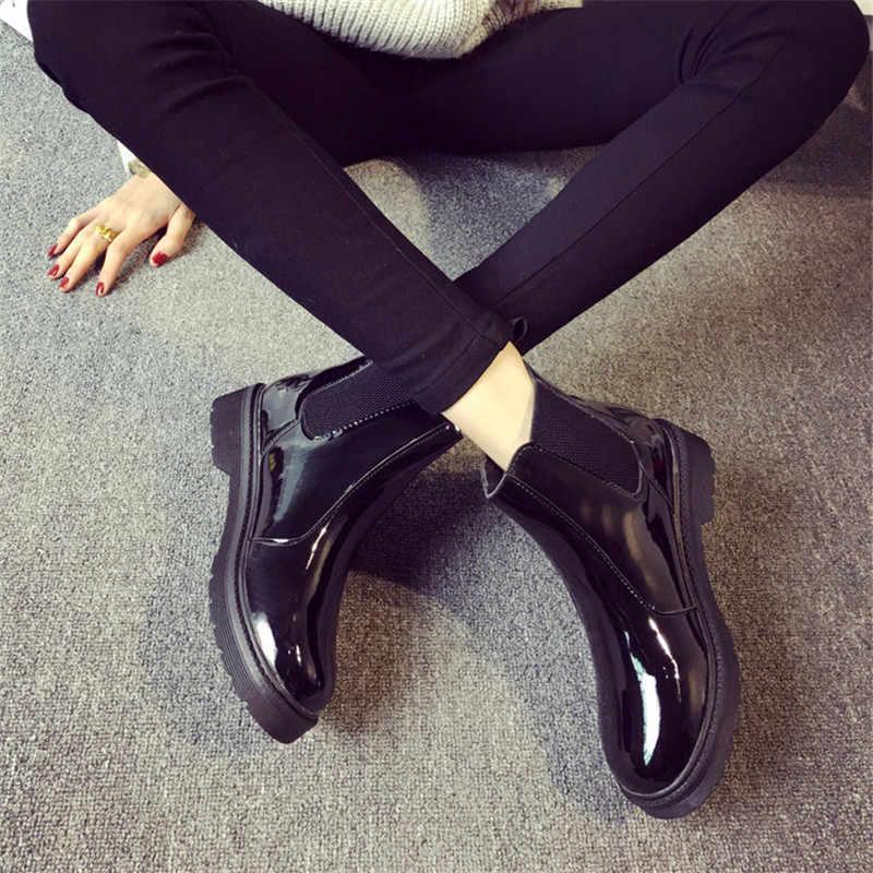 COOTELILI Marka Artı Boyutu 40 Kadın yarım çizmeler Düz Topuklu rahat ayakkabılar Kadın Rugan Çizmeler Kızlar Için Siyah Motosiklet