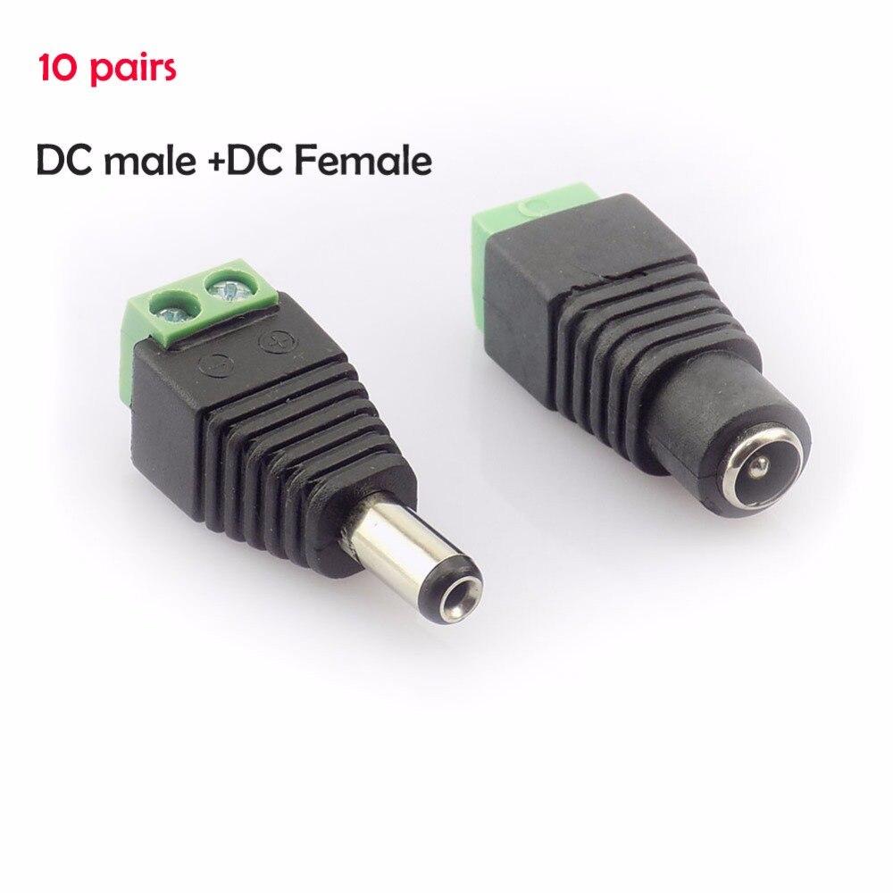 10 par (20 unids) coaxial Cat5 a Bnc DC Power jack macho hembra DC conector adaptador de enchufe Av BNC UTP para cámara CCTV Video Balun
