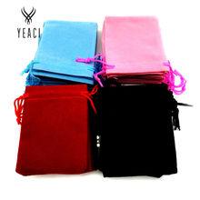 Frete Grátis 100 pcs 7x9 cm Velvet Drawstring Bag Bolsa Bag/jóias, natal/Presente de casamento saco preto/vermelho/Rosa/azul(China (Mainland))