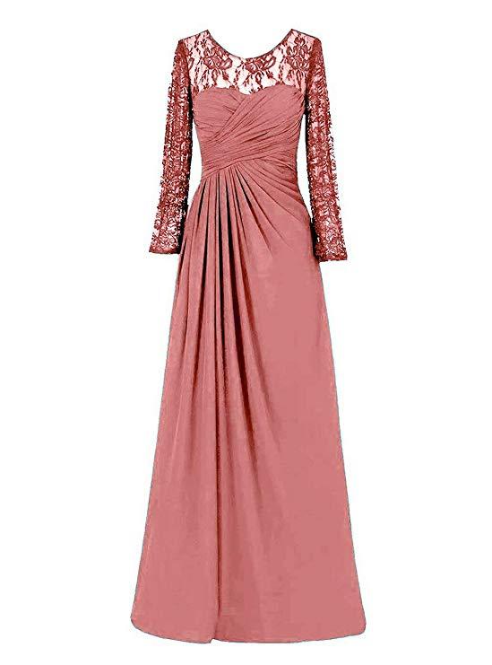 2019  Women's Chiffon Lace Evening Dresses Long Sleeves Party Formal Dresses Vestido Longo Festa
