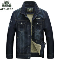 AFS JEEP Denim Jacket Men Winter Denim Parka Men High Quality Warm Fleece Denim Jacket Cowboy