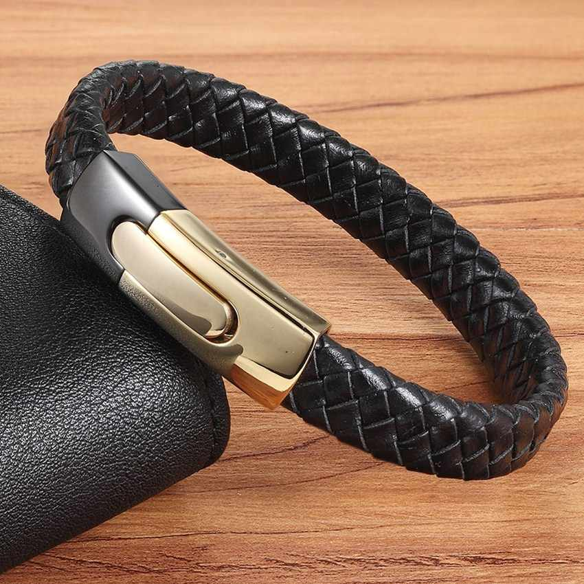 XQNI Punk Easy Hook Black Gold Combination Snake Chain Stainless Steel Leather Bracelet For Men Fashion Magnetic Bracelet Gift