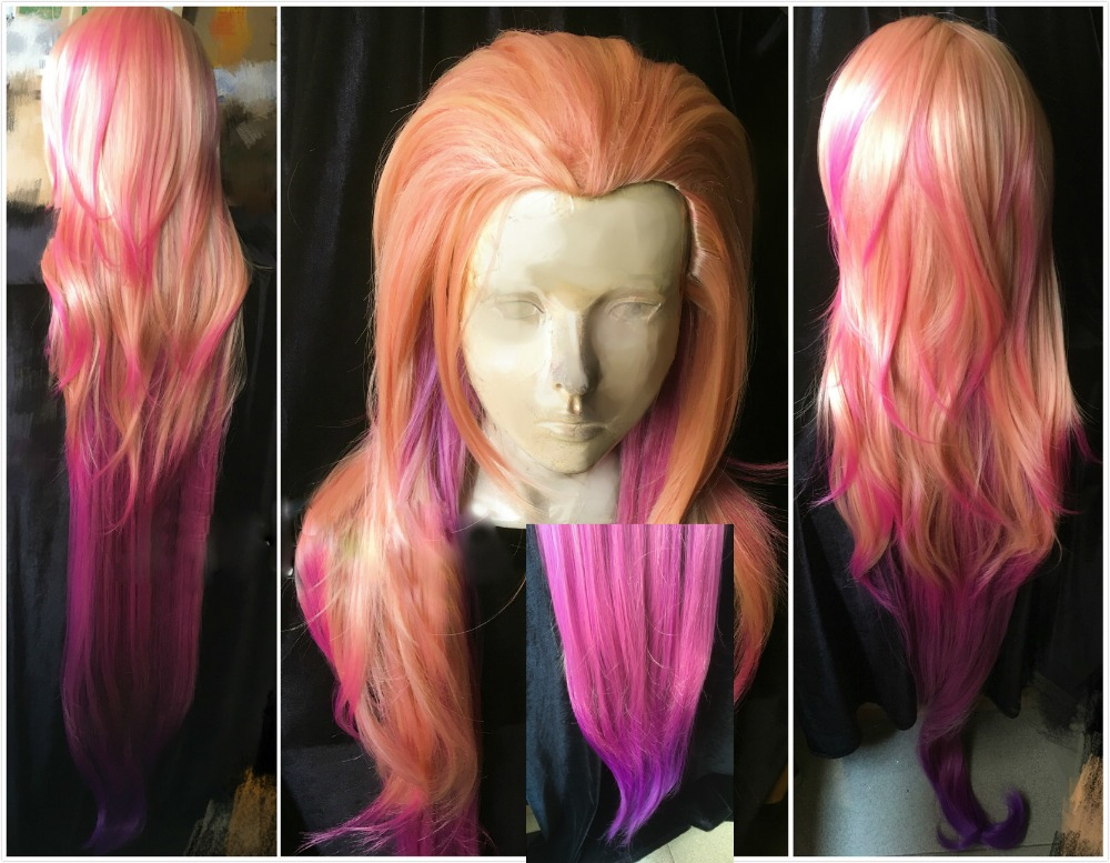 <font><b>150cm</b></font> LOL Zoe <font><b>Wigs</b></font> Aspect of Twilight Orange Pink Purple Mixed Colors New Hero Gradient Synthetic Hair Cosplay <font><b>Wig</b></font> + <font><b>Wig</b></font> Cap image