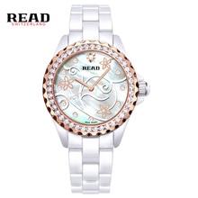 2016 Leer Nueva Moda A Prueba de agua Reloj Hora Dial Mano Blanco Se Levantó Ladies Relojes Vestido de Las Mujeres Reloj de Pulsera de Acero PR43