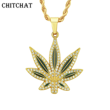 2018 New Iced Out Rhinestone Maple Leaf Pendant Necklace Herb Charm Necklace Hip Hop Jewelry Mujer rhinestone leaf fringe metal necklace