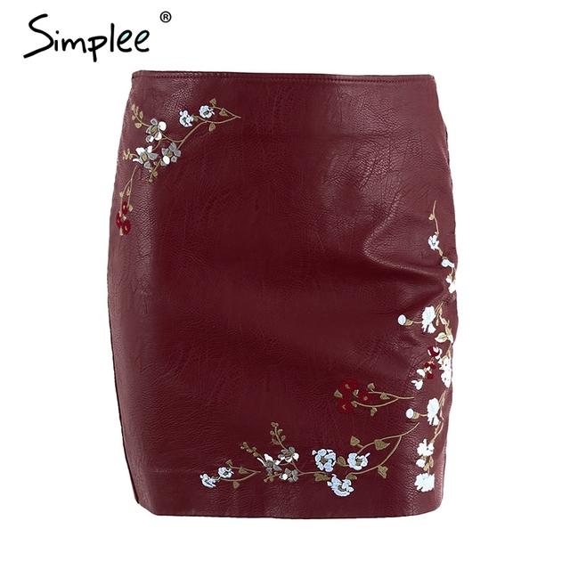 Simplee PU leather embroidery pencil skirt women Elegant zipper pocket short skirt Autumn 2017 fashion streetwear mini skirt