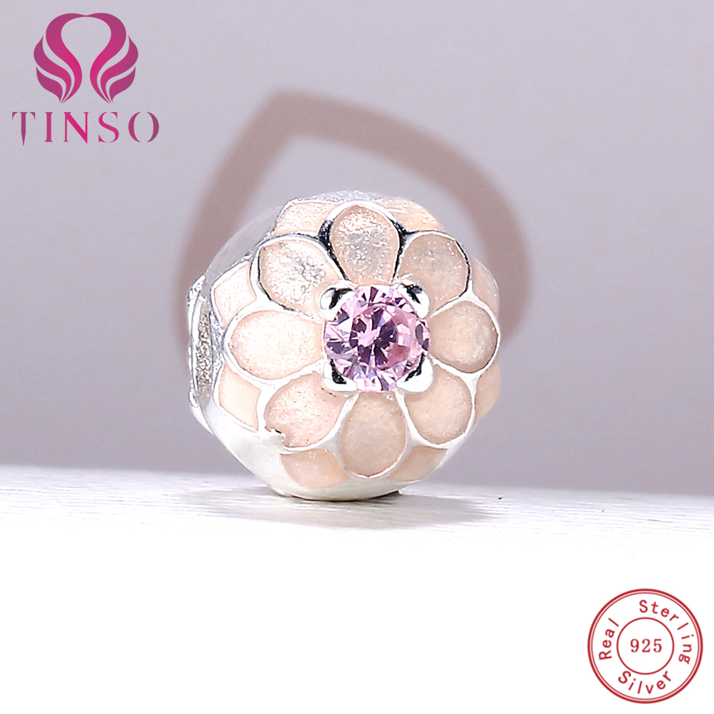 100% Authentic 925 Sterling Silver Lovely Flower Charm Clips Beads Fit Pandora Charm Bracelet DIY Original Silver Jewelry Making