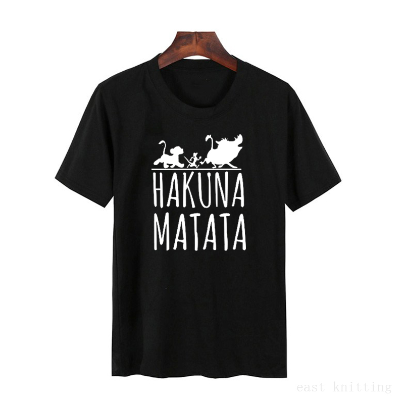 Hakuna Matata Letter Print Tee Shirt Homme Summer Comfortable Women Short Sleeve T-shirt Women Casual Top