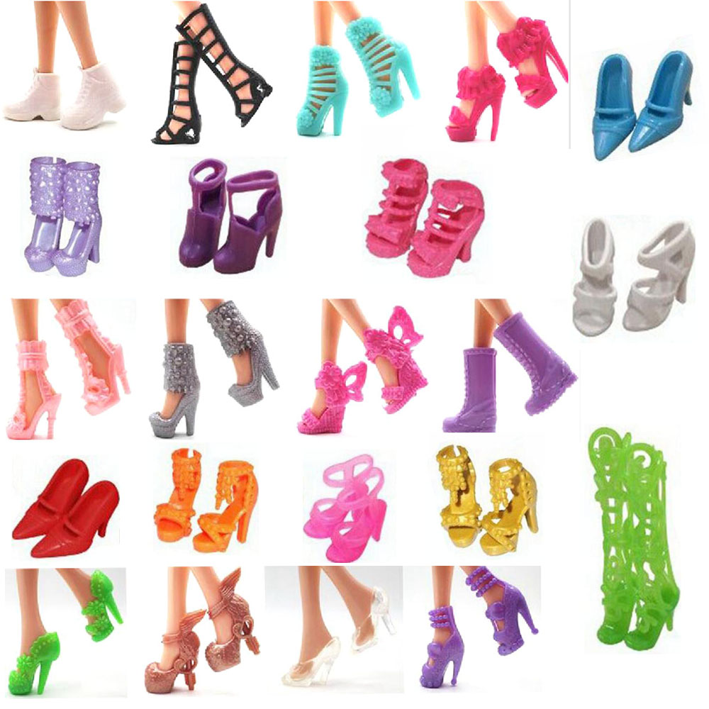 NK 22 Pairs/Set  Doll Shoes Fashion Cute Colorful Assorted Shoes For Barbie Doll With Different Styles High Quality Baby Toy DZ