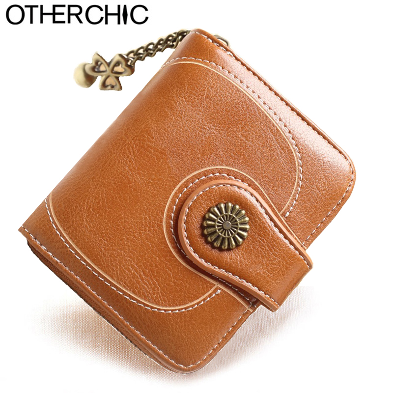 OTHERCHIC Vintage Oil Wax Leather Women Short Wallets Small Cute Wallet Coin Pocket Card Holder Female Purses Money Bag 8N02-03 genuine leather coin purses women small change money bags pocket wallets female key chain holder case mini pouch card men wallet