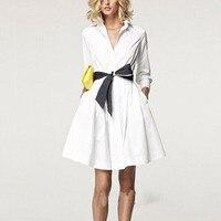 2018 лето Autum белое платье Для женщин деловая модельная Одежда сексуальное платье рубашка взлетно посадочной полосы nd129