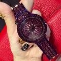 Новые Поступления Luxury Brand Женские Часы Полный Алмазов Вращающийся Циферблат Наручные Часы Relojes Mujer Женщины Фиолетовый Часы Relogio Feminino